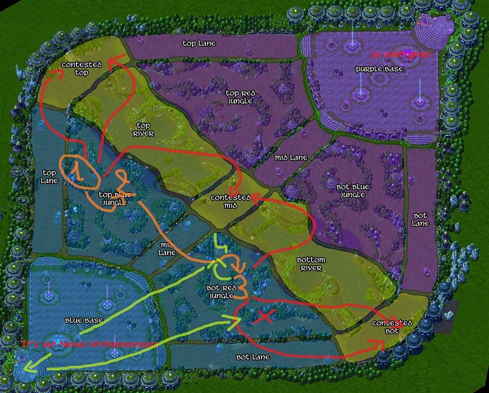 Carte 2 : Start Gromp / Blue / Red. Si jungler à bon sustain => Wraiths (voir Loups). Back puis gank suivant les flèches rouges.